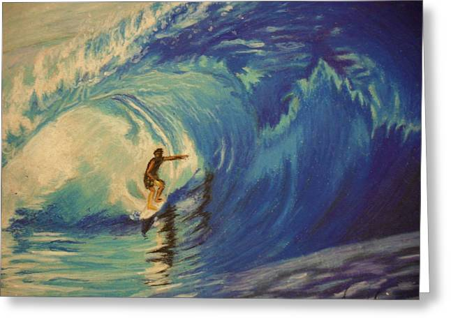 Human Pastels Greeting Cards - Surfer Greeting Card by Agnes V