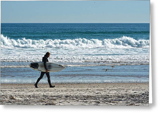 Ocean Art Photography Greeting Cards - Surfer And His Board Greeting Card by Sandi OReilly