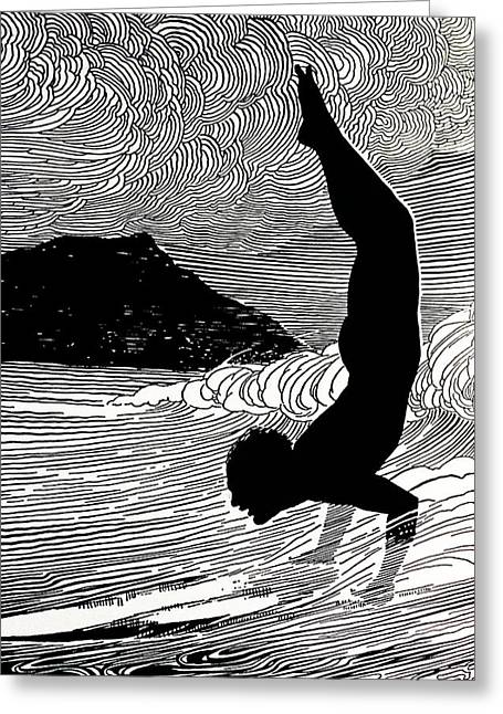 Surfing Art Greeting Cards - Surfer and Waikiki Greeting Card by Hawaiian Legacy Archive - Printscapes