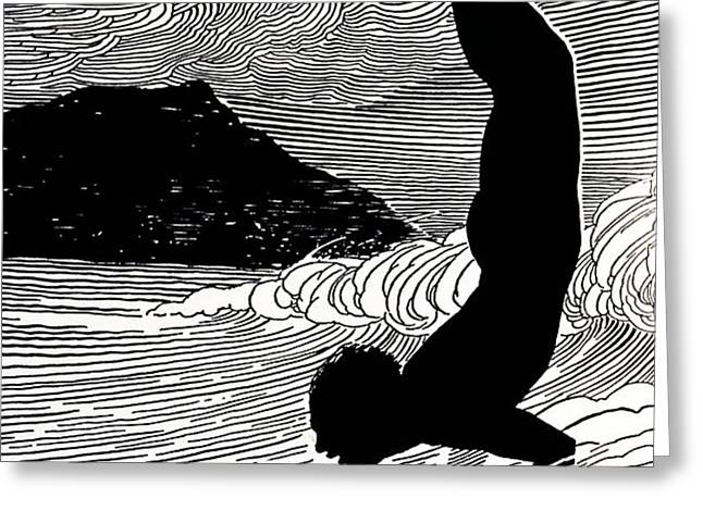Surfer and Waikiki Greeting Card by Hawaiian Legacy Archive - Printscapes