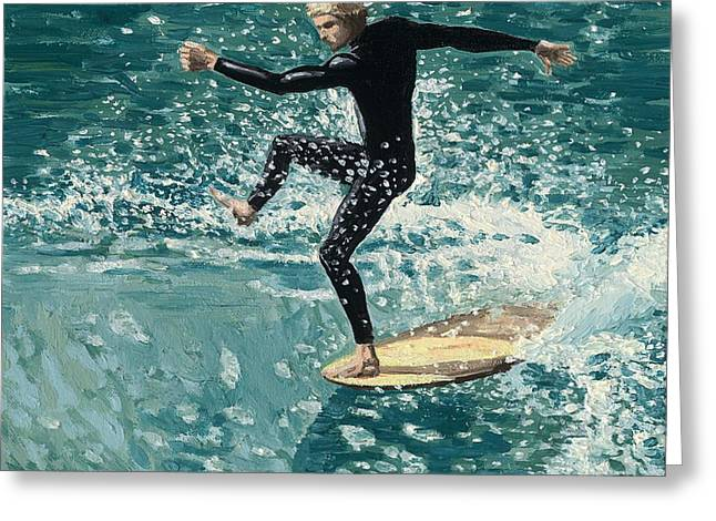 Coast Hwy Ca Greeting Cards - Surfer Greeting Card by Andrew Palmer