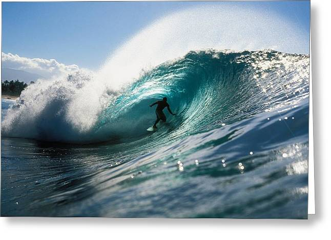 Best Sellers -  - Surfing Photos Greeting Cards - Surfer At Pipeline Greeting Card by Vince Cavataio - Printscapes