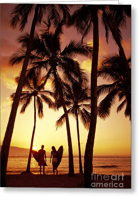 Surfer Couple Greeting Card by Dana Edmunds - Printscapes