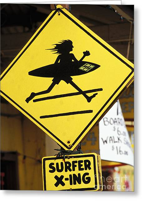 Historic Village Cross Greeting Cards - Surfer crossing sign Greeting Card by Joe Carini - Printscapes