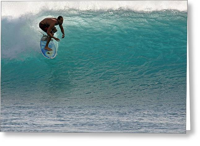 Surf Lifestyle Greeting Cards - Surfer dropping in the blue waves at Dumps Maui Hawaii Greeting Card by Pierre Leclerc Photography
