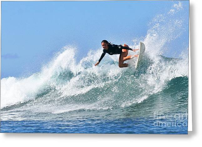 Surf Greeting Cards - Surfer Girl at Bowls 5 Greeting Card by Paul Topp