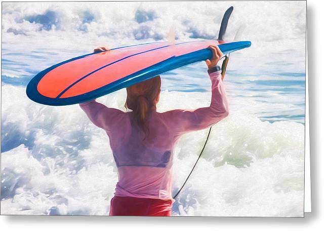 Jacksonville Greeting Cards - Surfer Girl Greeting Card by Diane Macdonald
