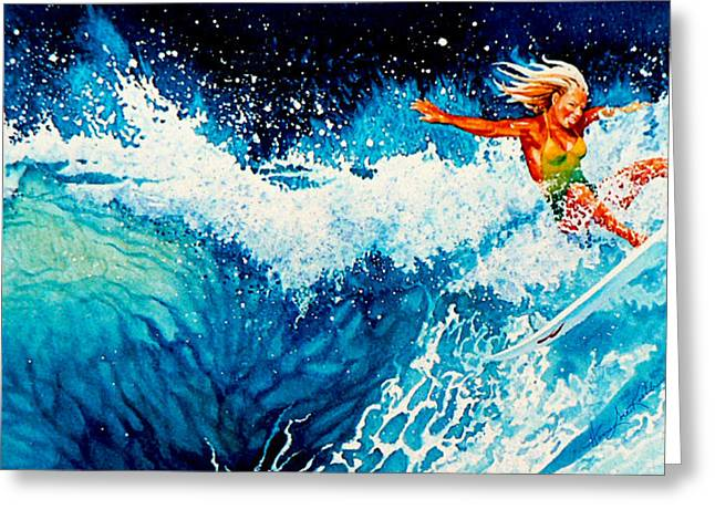 Sport Artist Greeting Cards - Surfer Girl Greeting Card by Hanne Lore Koehler