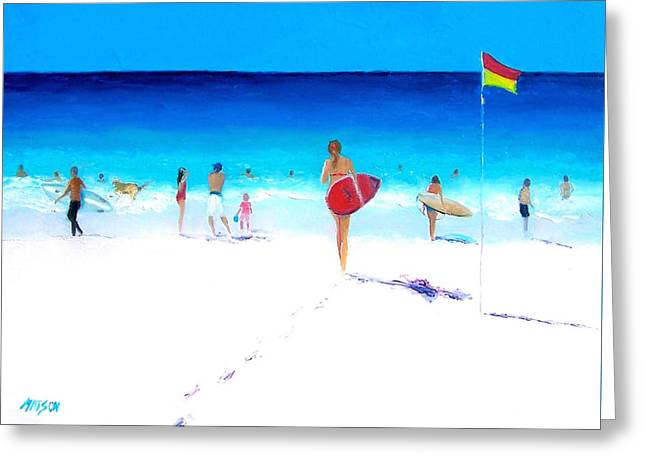 Beach Cottage Style Greeting Cards - Surfer Girl Greeting Card by Jan Matson