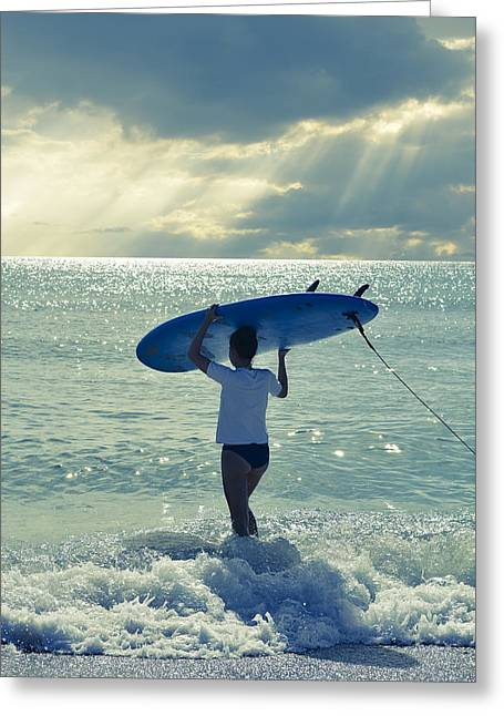 Juno Greeting Cards - Surfer Girl Greeting Card by Laura Fasulo