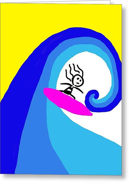 Surfer Girl Greeting Card by Shanhan Truitt-Roos