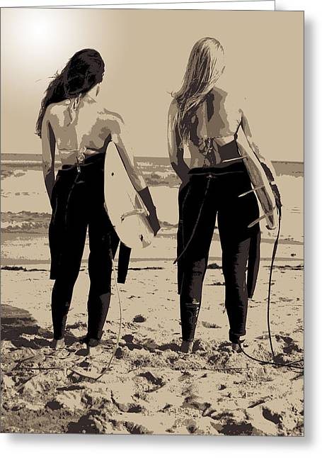 Abstract Seascape Greeting Cards - Surfer Girls Greeting Card by Brad Scott