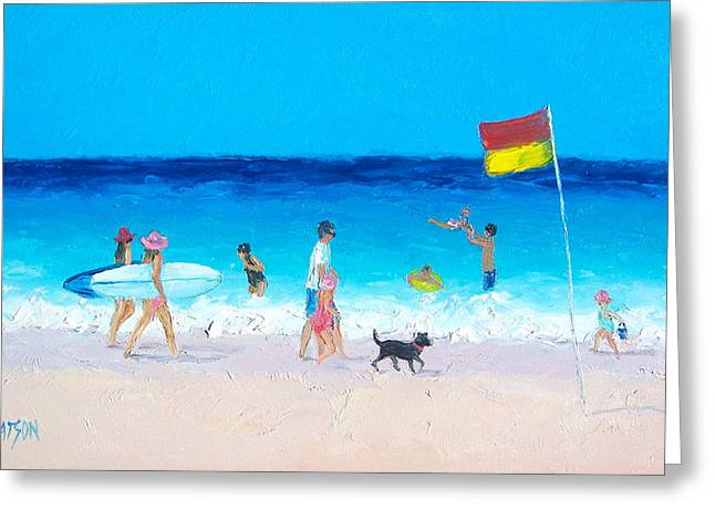 Dog Beach Print Greeting Cards - Surfer girls Greeting Card by Jan Matson