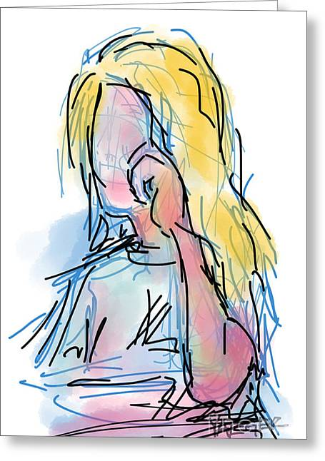 Surf City Drawings Greeting Cards - Surfer Hair Greeting Card by Robert Yaeger