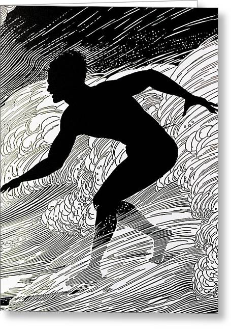 Island Cultural Art Greeting Cards - Surfer Greeting Card by Hawaiian Legacy Archive - Printscapes