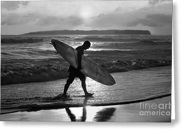 Catherine White Greeting Cards - Surfer Heading Home Greeting Card by Catherine Sherman