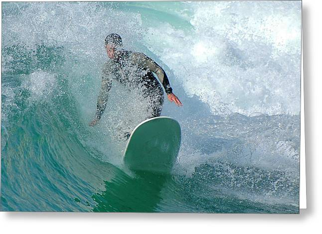 Californian Greeting Cards - Surfer In Curl Greeting Card by Clarence Alford