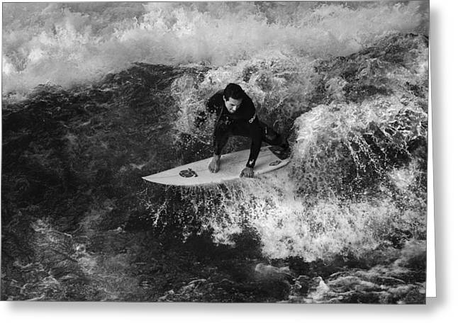 Waves Splash Greeting Cards - Surfer Greeting Card by Marei