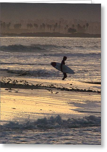 Surfer Silhouette At Ventura Point Greeting Card by Rich Reid