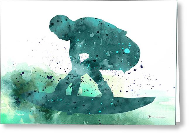 Gift For Jewelry Greeting Cards - Surfer silhouette minimalist painting Greeting Card by Joanna Szmerdt