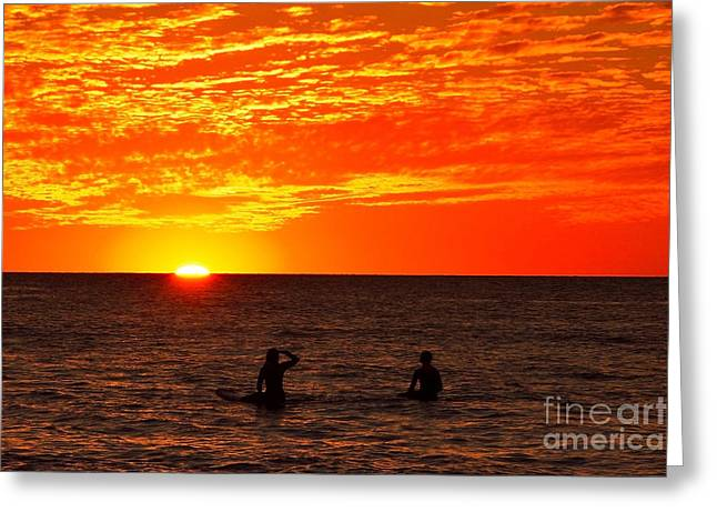 Surfing Photos Greeting Cards - Surfer Sunset Greeting Card by Dennis Wat