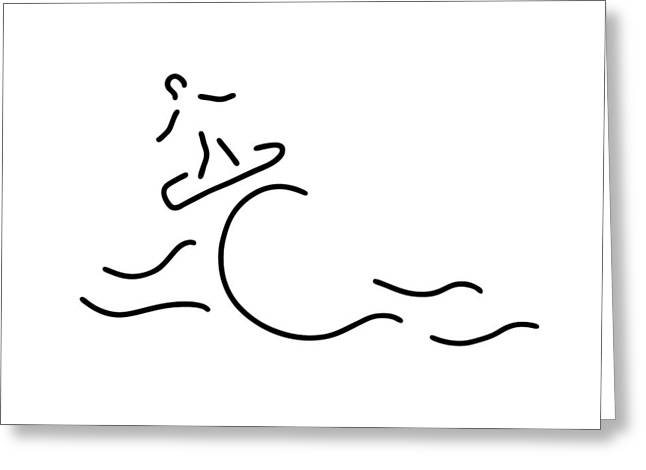 Surf Silhouette Drawings Greeting Cards - Surfer Surfboard Greeting Card by Lineamentum