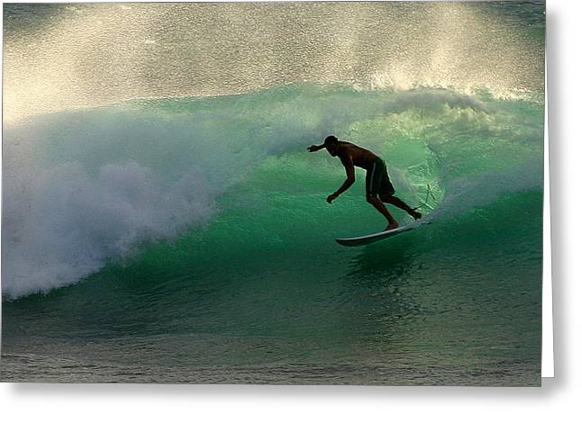 Surfer Surfing blue waves at Dumps Maui Hawaii Greeting Card by Pierre Leclerc Photography