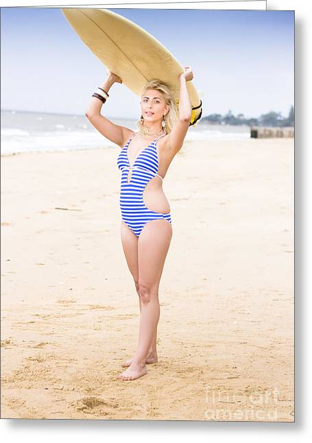 Surf Lifestyle Greeting Cards - Surfer Woman Greeting Card by Ryan Jorgensen