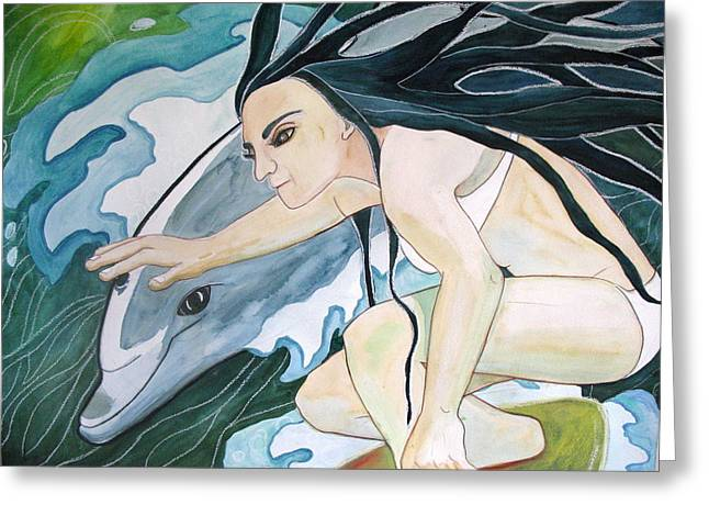 Surfers Greeting Card by Kimberly Kirk