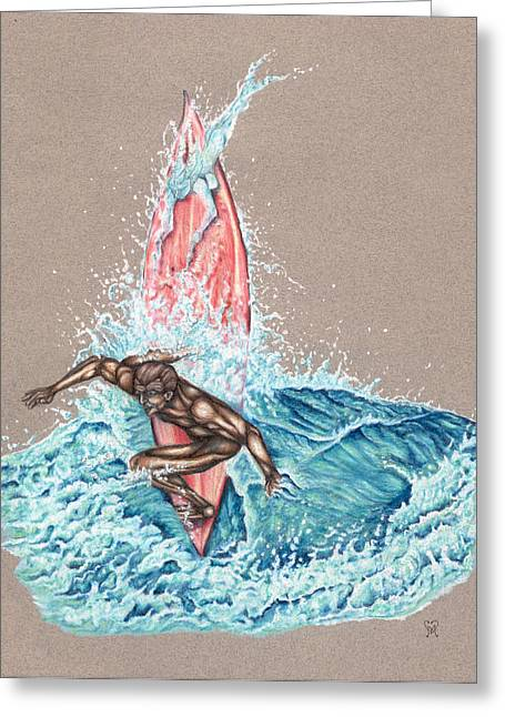 Colored Pencil Drawings Greeting Cards - Surfers Lover Greeting Card by Karen Musick