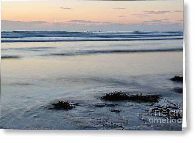 Amazing Sunset Greeting Cards - Surfers Seaweed and Silky Water at Fistral Greeting Card by Jennie Jordan