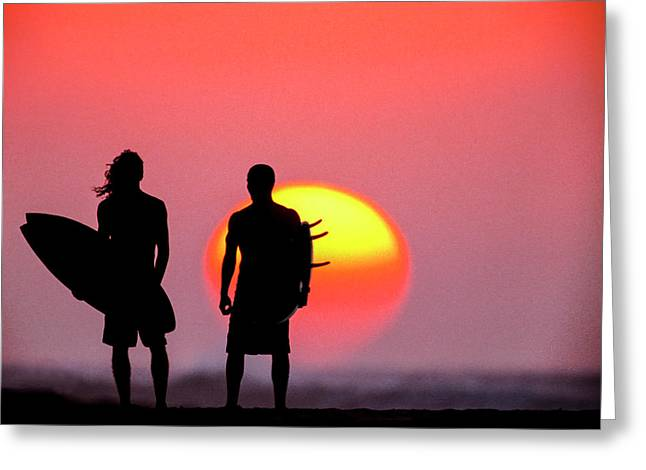 Surfers Sunset Greeting Card by Sean Davey