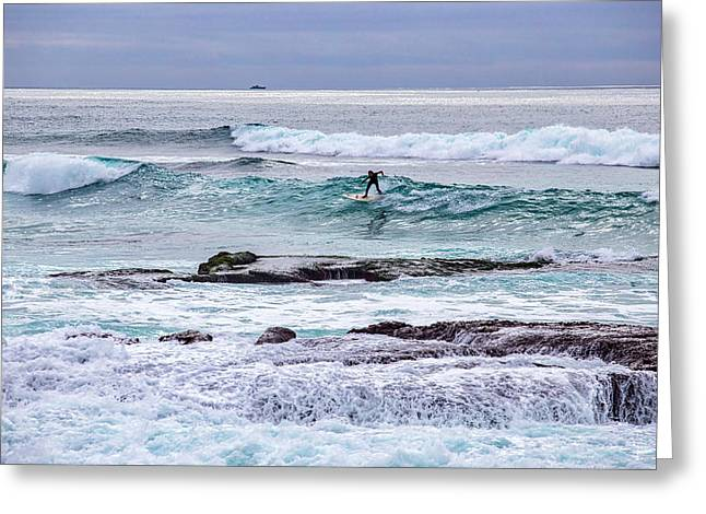 Surfin The Reef Greeting Card by Peter Tellone