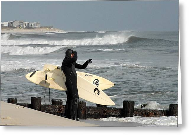 On The Beach Greeting Cards - Surfing 164 Greeting Card by Joyce StJames
