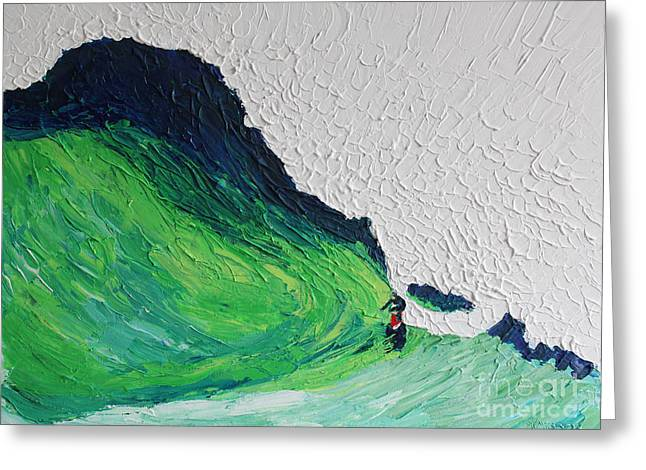 Blue Green Wave Greeting Cards - Surfing 6872 Greeting Card by Robert Yaeger