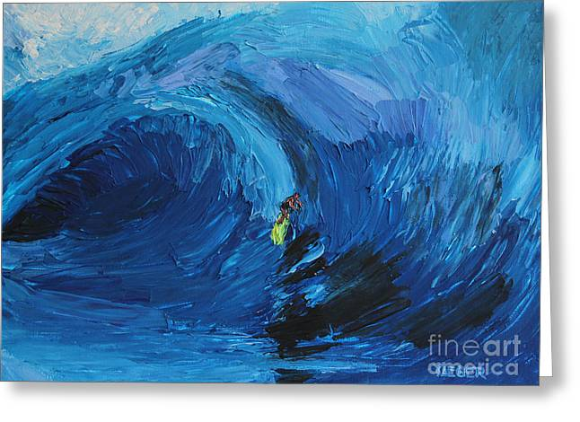 Abstract Beach Landscape Greeting Cards - Surfing 6967 Greeting Card by Robert Yaeger