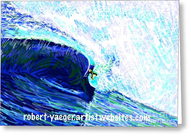 Abstract Beach Landscape Greeting Cards - Surfing 82315 Includes RY Website Text Greeting Card by Robert Yaeger