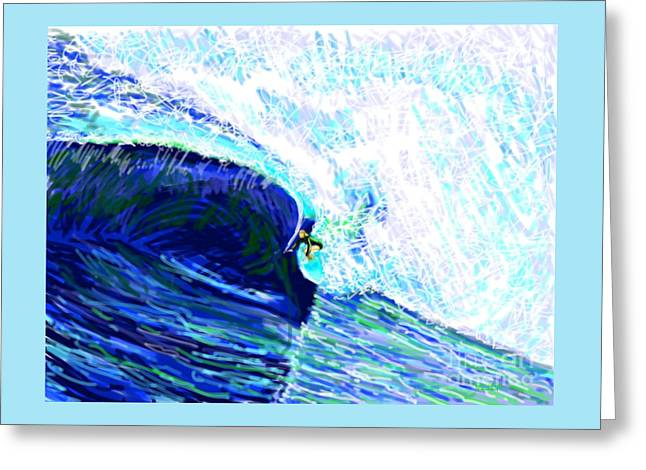 Abstract Beach Landscape Greeting Cards - Surfing 82315 Greeting Card by Robert Yaeger