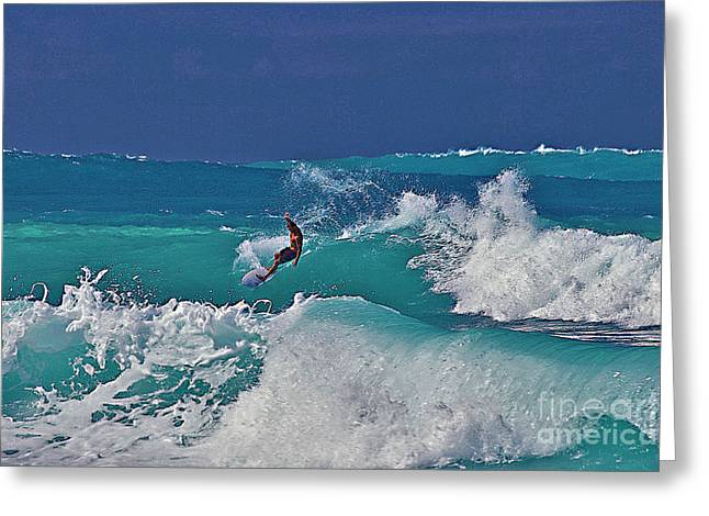 Surfing Photos Greeting Cards - Surfing at Anaehoomalu Bay Greeting Card by Bette Phelan