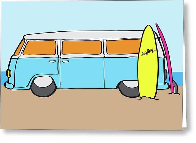 Surfing Australia Vw Kombi Van Greeting Card by Jorgo Photography - Wall Art Gallery