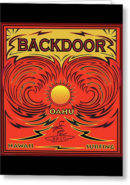 Surfing Backdoor Oahu Hawaii Greeting Card by Larry Butterworth
