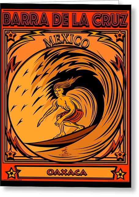 Surfing Barra De La Cruz Mexico Greeting Card by Larry Butterworth