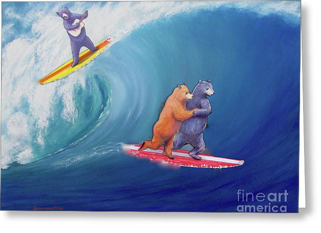 Surfing Bears Greeting Card by Jerome Stumphauzer