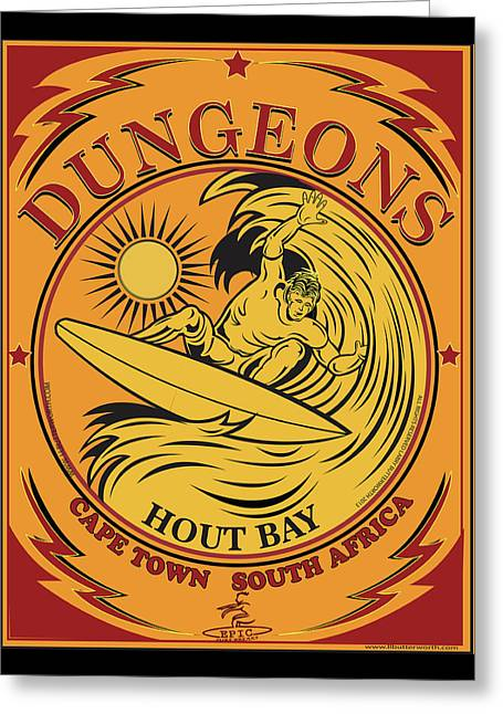 Surfing Dungeons Cape Town South Africa Greeting Card by Larry Butterworth
