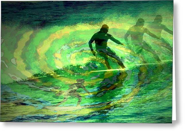 Surfing For The Gold Abstract Greeting Card by Joyce Dickens