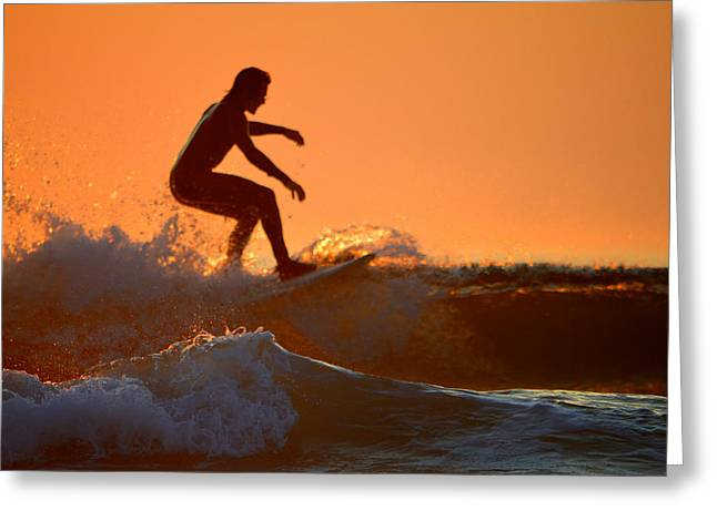 Reflecting Water Greeting Cards - Surfers Gold Greeting Card by Dianne Cowen