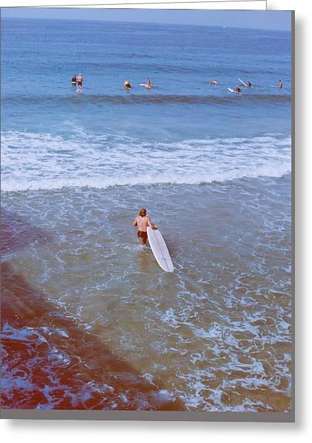 Surfing In Newport Beach Greeting Card by Ariane Moshayedi