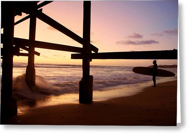 Ocen Landscape Greeting Cards - Surfing in the Sunset Greeting Card by Ava Stepniewska PixelogyStudios