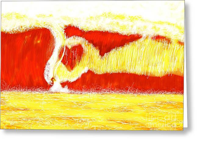 Abstract Beach Landscape Greeting Cards - Surfing Love Greeting Card by Robert Yaeger