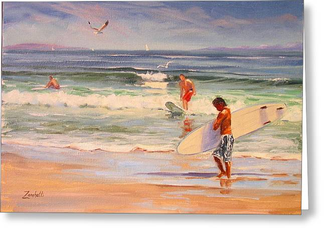 New England Coast Line Greeting Cards - Surfing Nantasket Greeting Card by Laura Lee Zanghetti